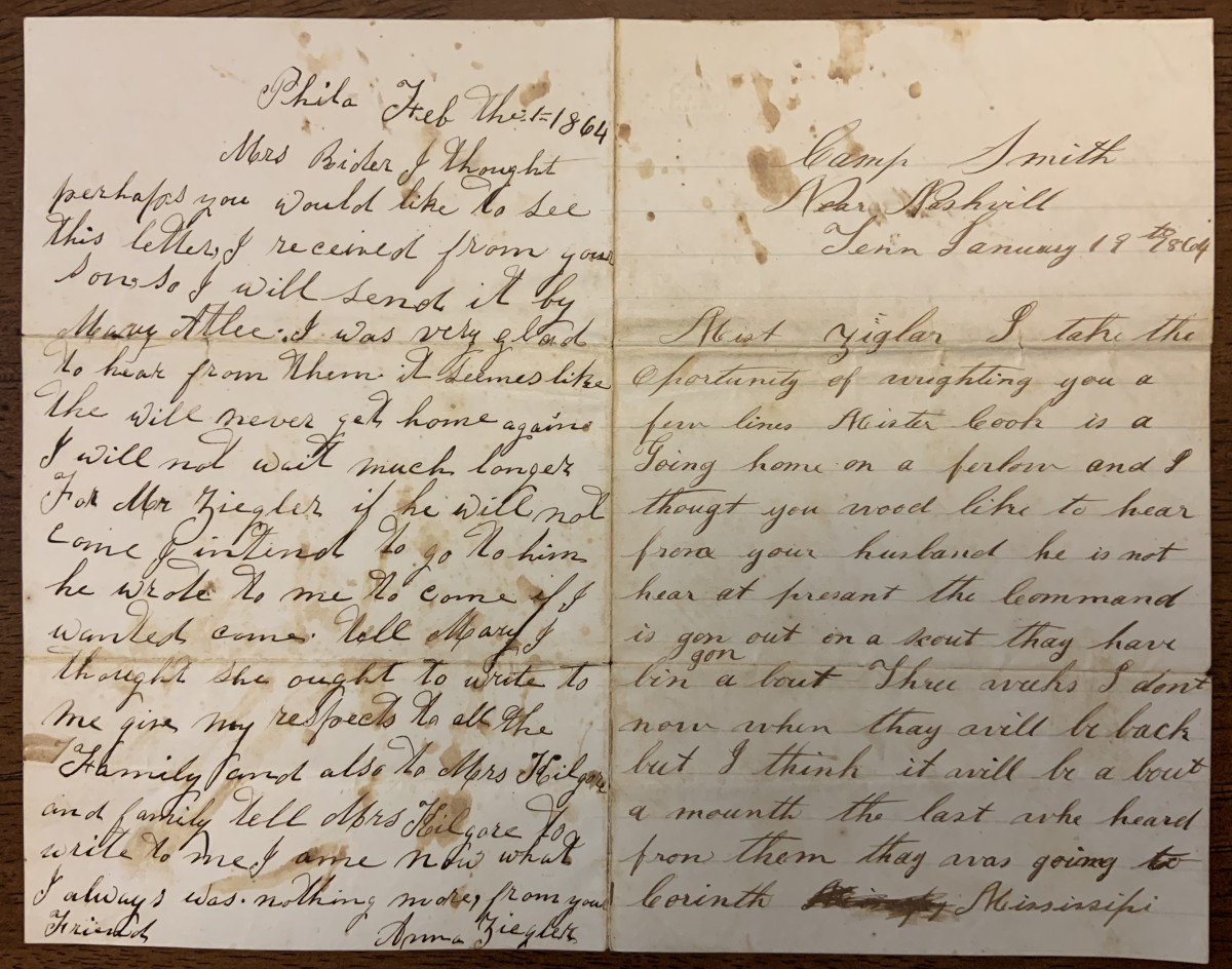 Page one of letter dated January 19, 1864 and the letter dated February 1, 1864.