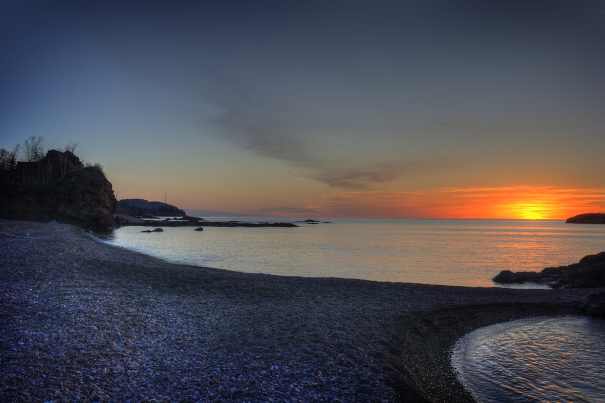 Sunrise at Silver Bay, Minnesota looking out over Lake Superior