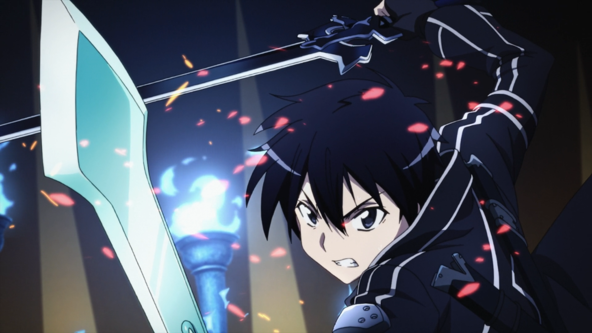 During a vicious boss fight, Kirito, on the verge of defeat, unleashes his ability to dual-wield.