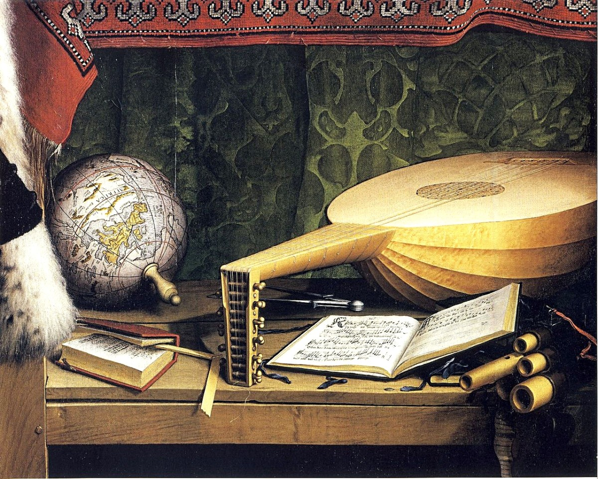 The lute in a detail of The Ambassadors (1533) by Hans Holbein
