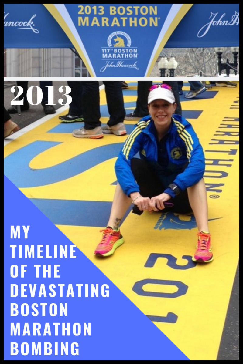 This is me, pre-race. checking out the finish line after we arrived in Boston.