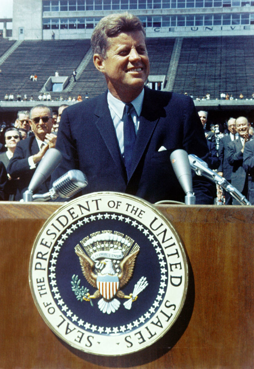 """We choose to go to the Moon"" is the famous tagline of a speech about the challenge to reach the Moon delivered by President John F. Kennedy to a large crowd gathered at Rice Stadium in Houston, Texas on September 12, 1962."