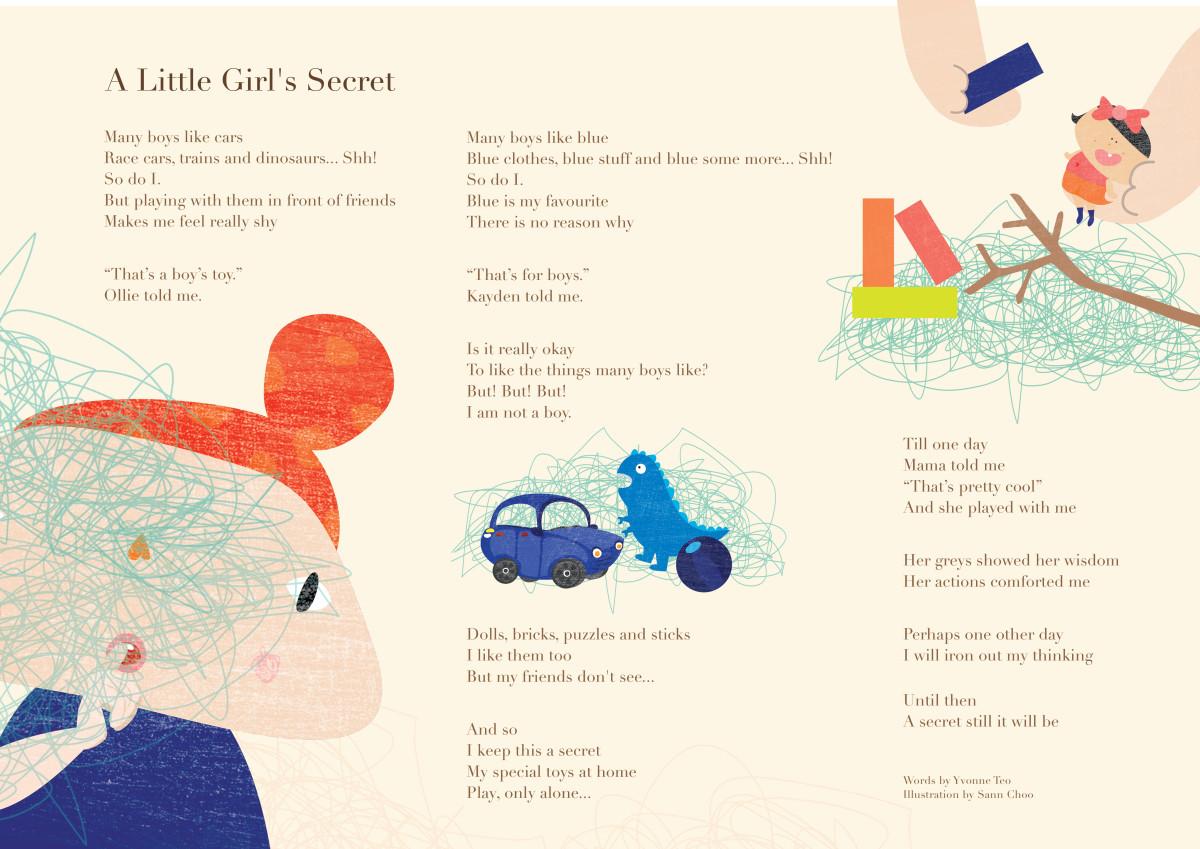 A Little Girl's Secret - Illustration by Sann Choo