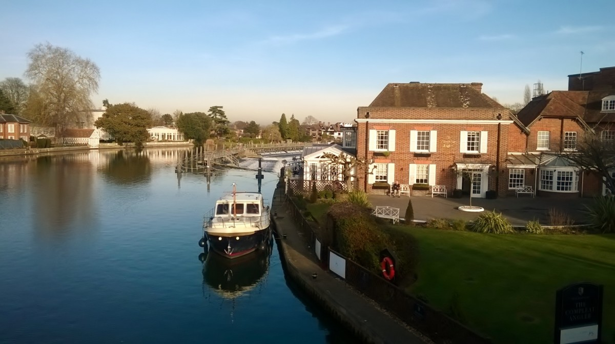 Overlooking the Compleat Angler Hotel Marlow Buckinghamshire. With the Weir in the background