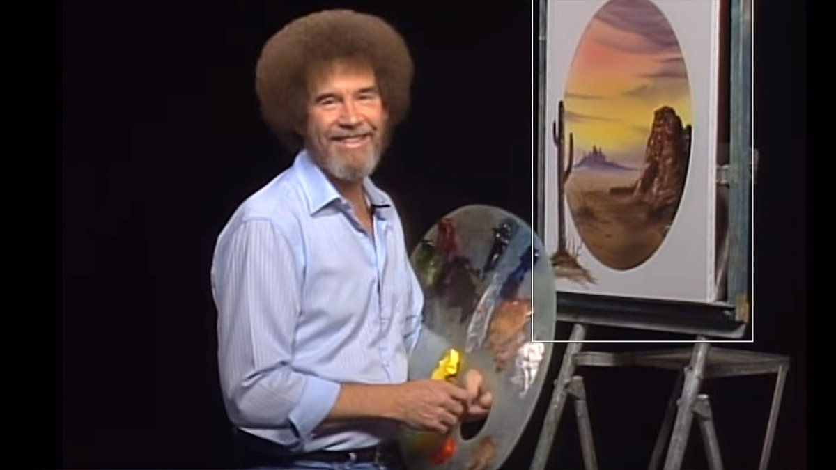 Bob Ross during The Joy of Painting