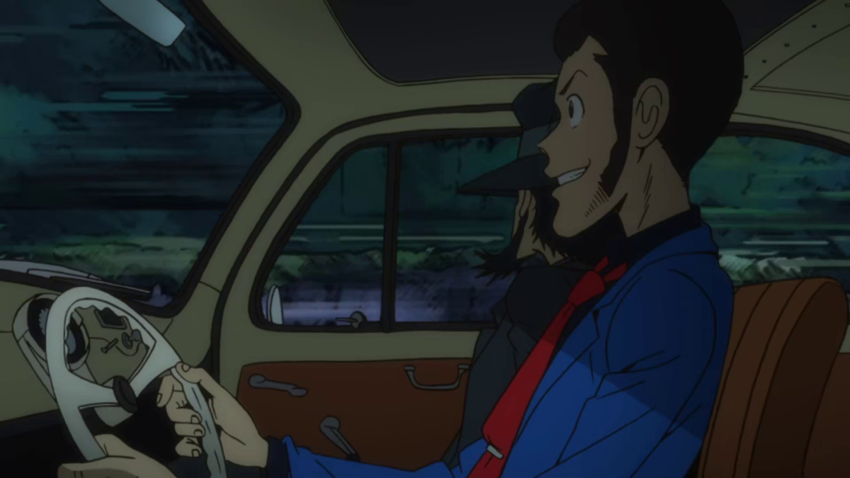 Lupin and his partner Jigen in yet another high-speed chase to get some treasure.