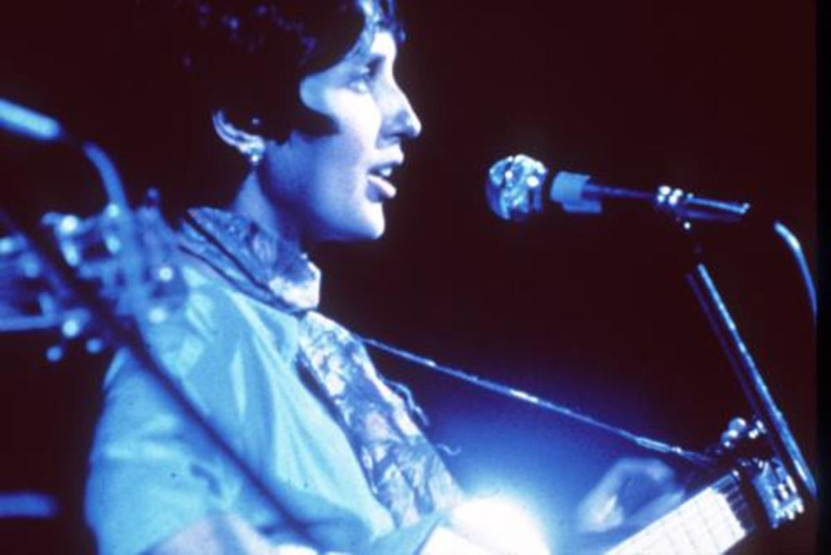 Joan Baez onstage at Woodstock