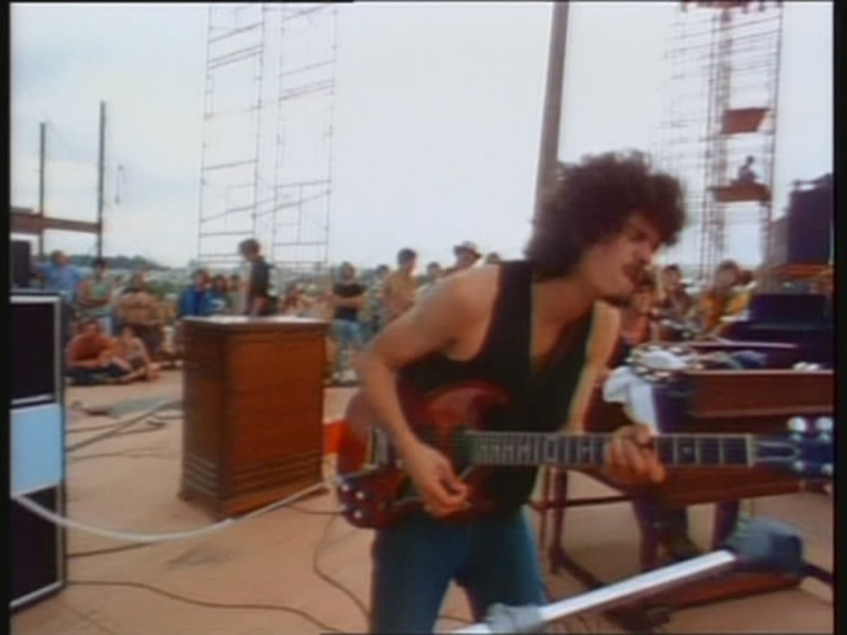 Carlos Santana onstage at Woodstock