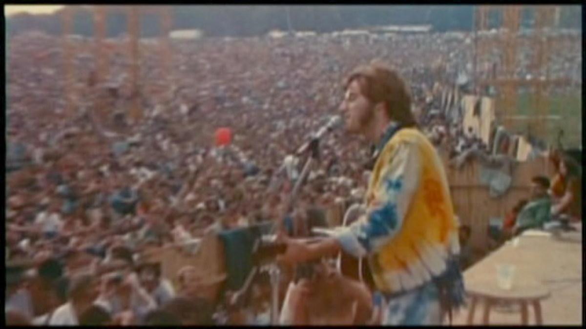 John Sebastian entertaining the crowd at Woodstock