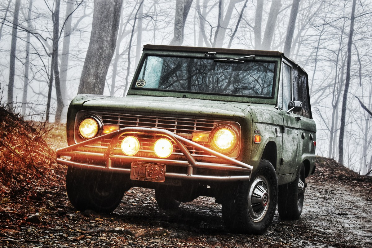 Rainy day adventure in a classic Bronco.