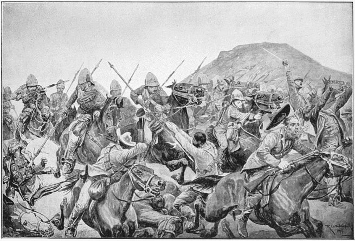 Charge of the 5th Lancers at Elandslaagte, Boer War, from a drawing by Richard Caton Woodville