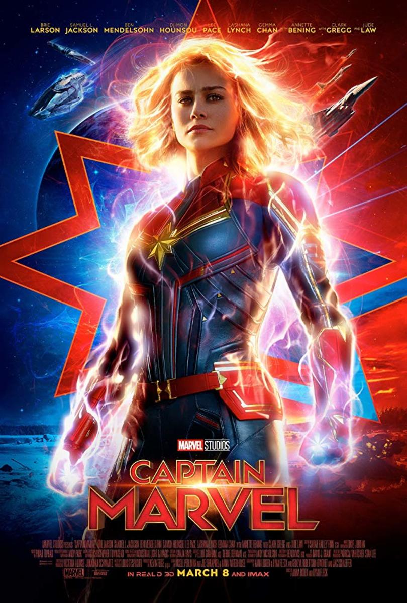 "One of many theatrical one-sheet poster for, ""Captain Marvel."""
