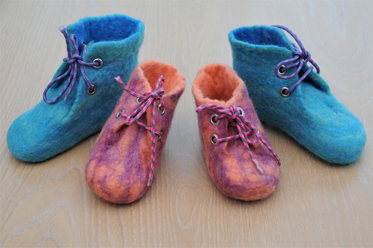 Wet felted booties with laces