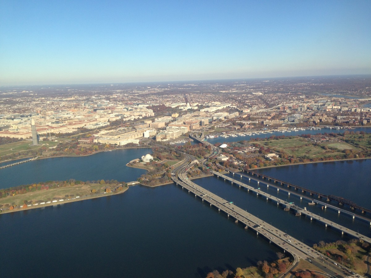 Potomac River and the 14th Street Bridges.