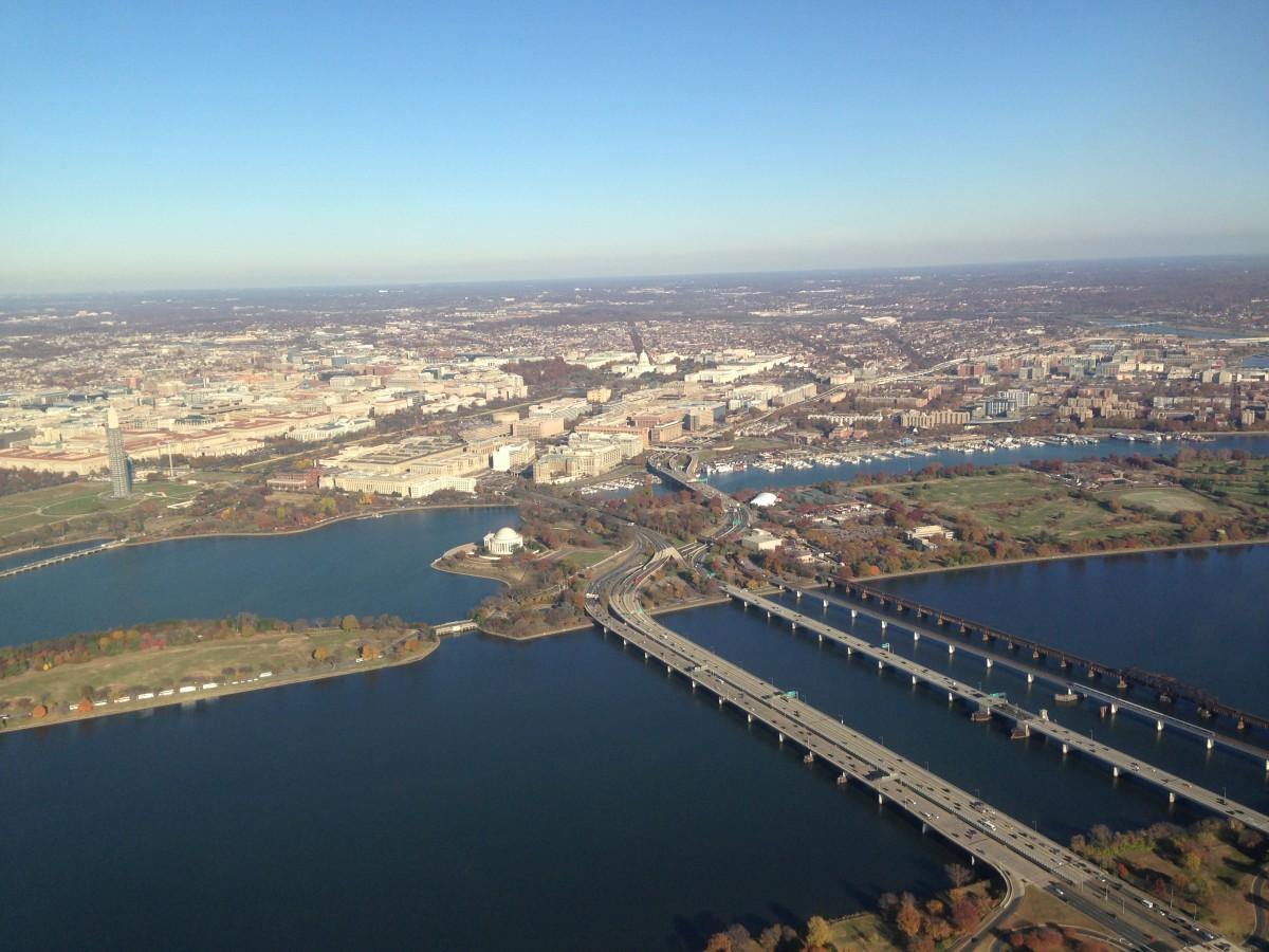 Potomac River and the 14th Street Bridges.