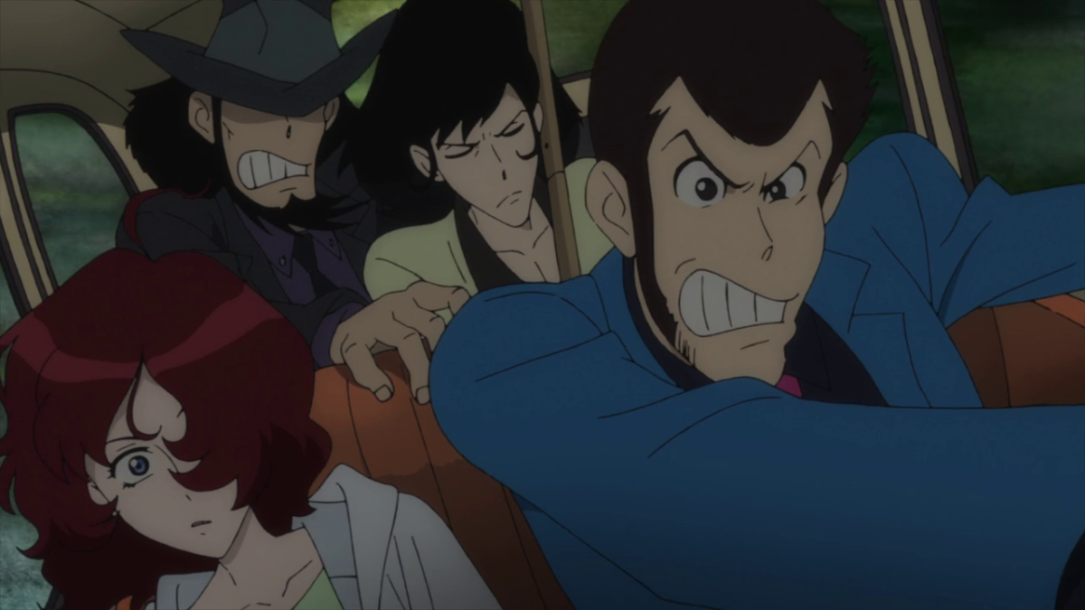 Lupin III, Jigen, Goemon, and newcomer Ami, with the cops hot on their heels.