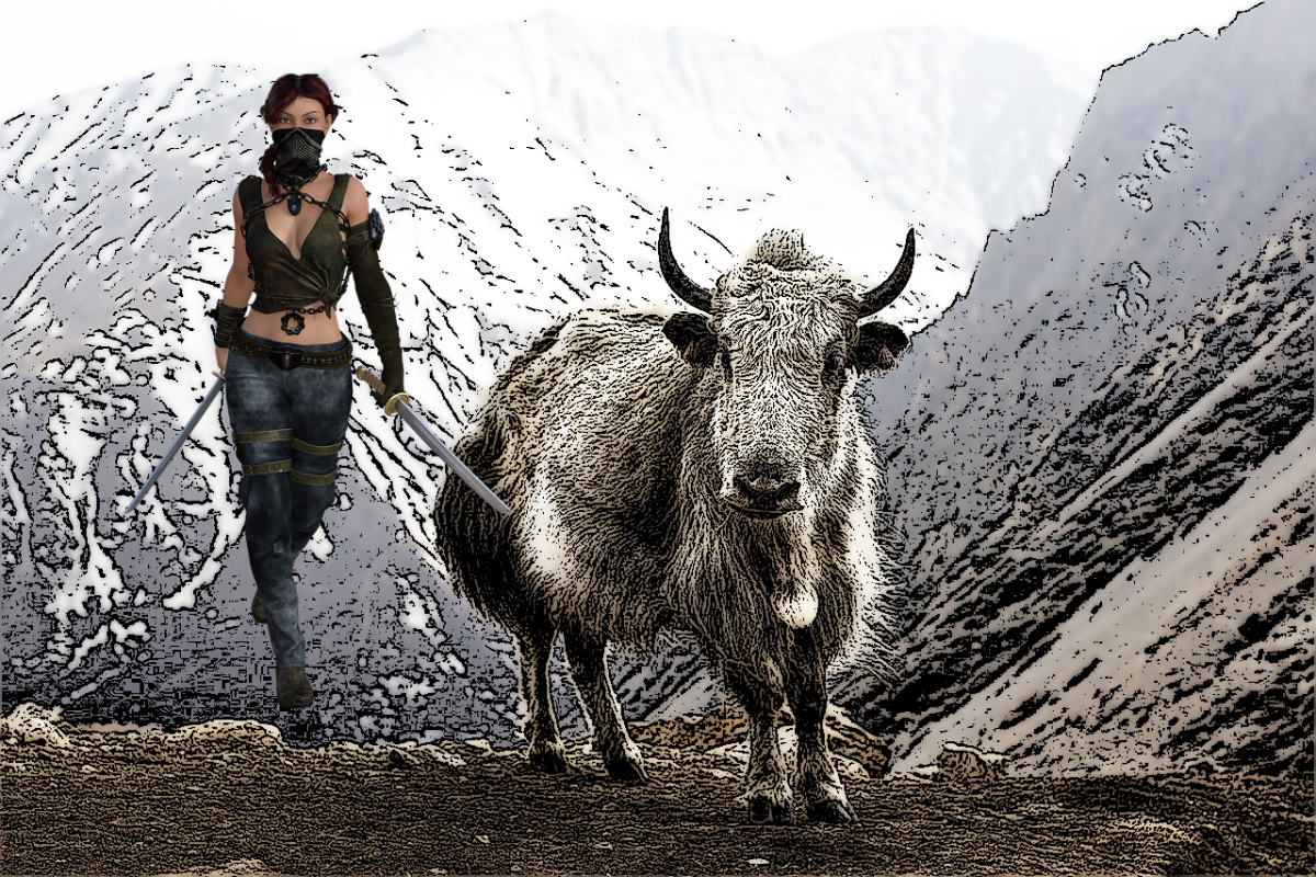 On the road with a yak...
