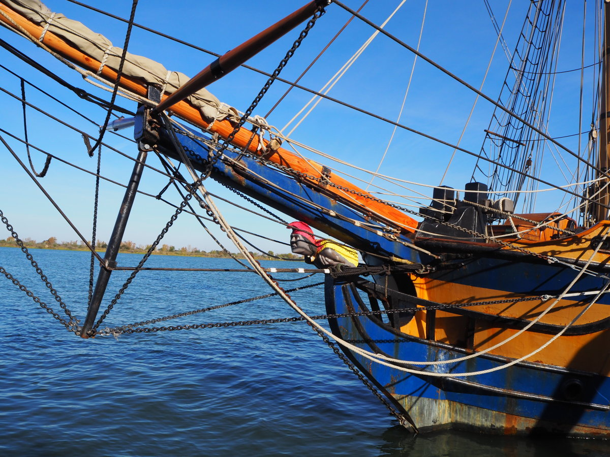 Bowsprit of a sailing ship