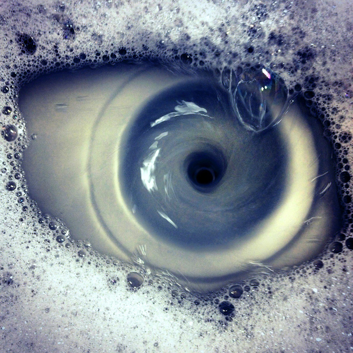 Do you see soapy water going down the sink or an eye?