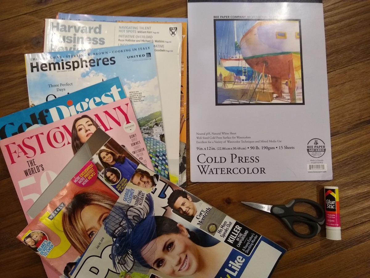 Supplies needed for collaging: old magazines or books on various topics, thick paper, scissors, and a glue stick.