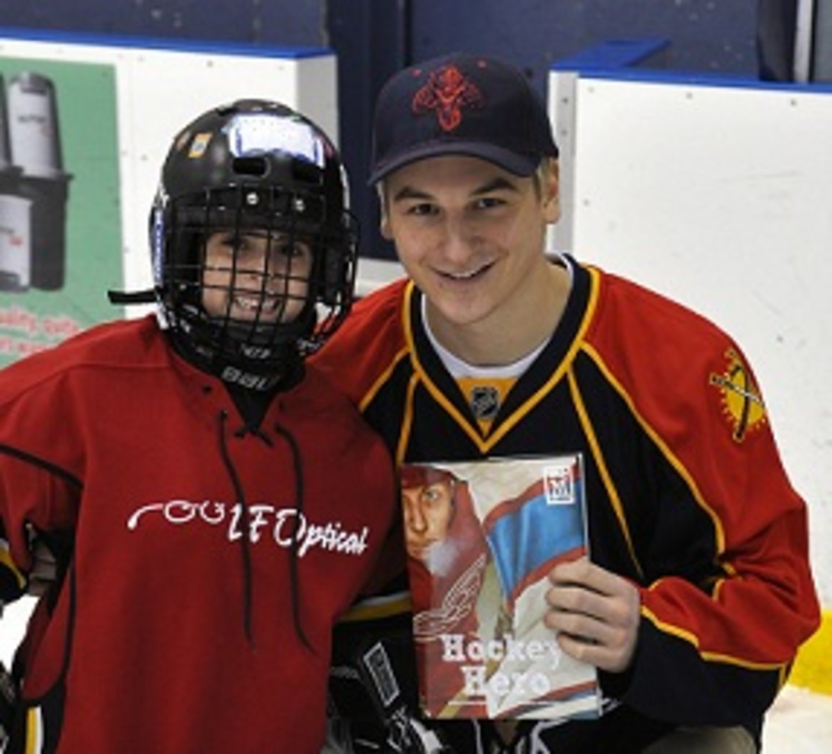 Here's Zach Hyman with his children's book and an excited fan.