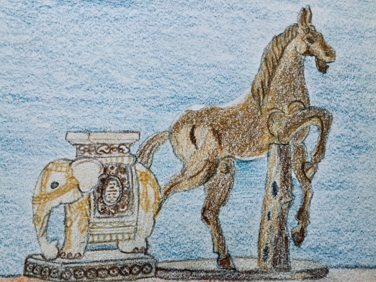 A ceramic elephant plant stand and wooden horse that I sketched using colored pencils.