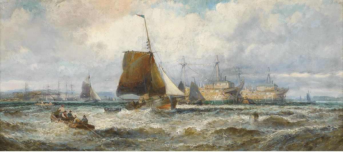 Prison hulks form the backdrop for this painting by William Anslow Thornley.