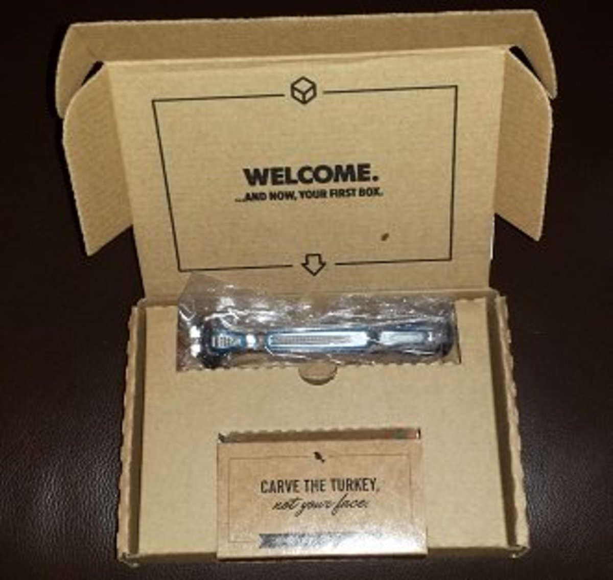 "The ""Welcome Package"" with razor handle."