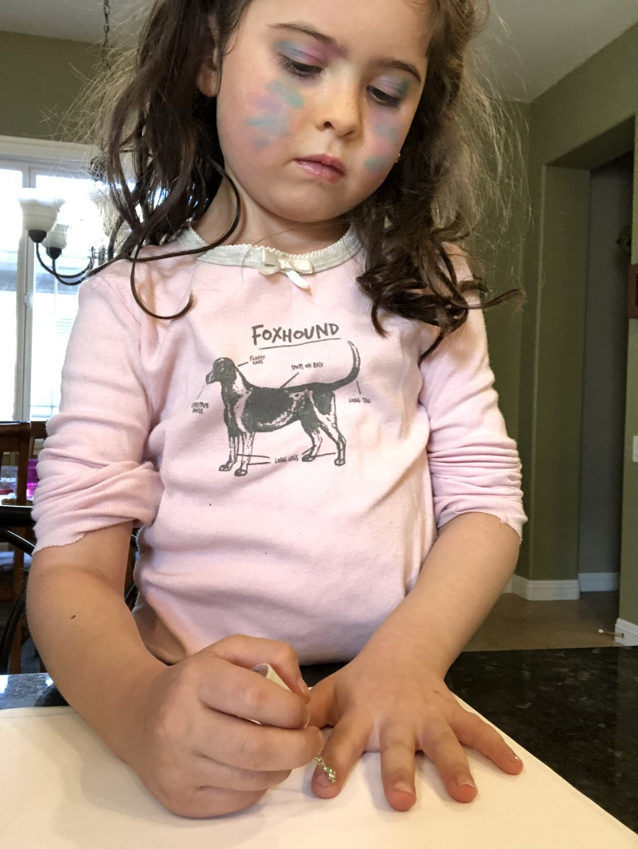Can you tell she also did her own makeup  that day? Not to worry, it was kid makeup and easily washable!