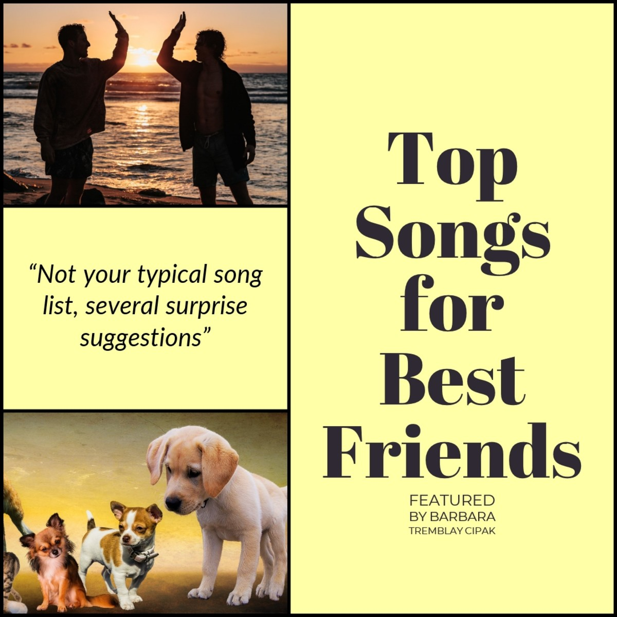 Top songs for best friends featured. Not your typical best friends playlist. A few surprise selections featured.