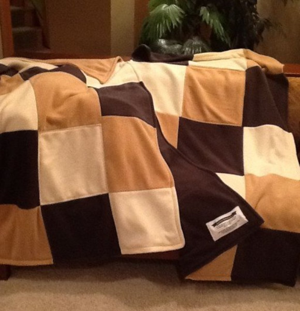 Three fleece quilts from three solid colors.
