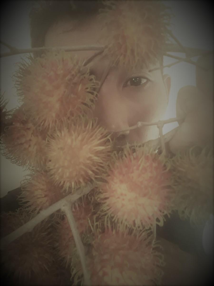 Face behind fruits