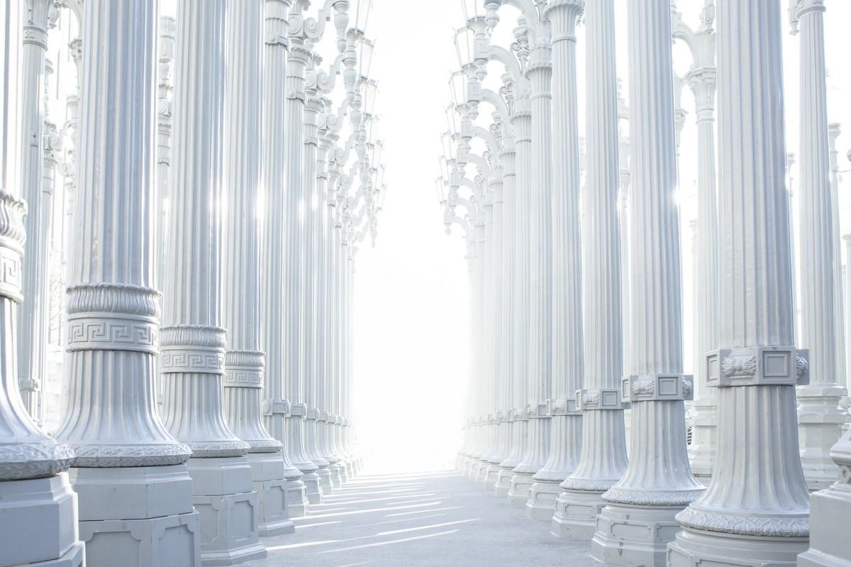 Bright light through columns
