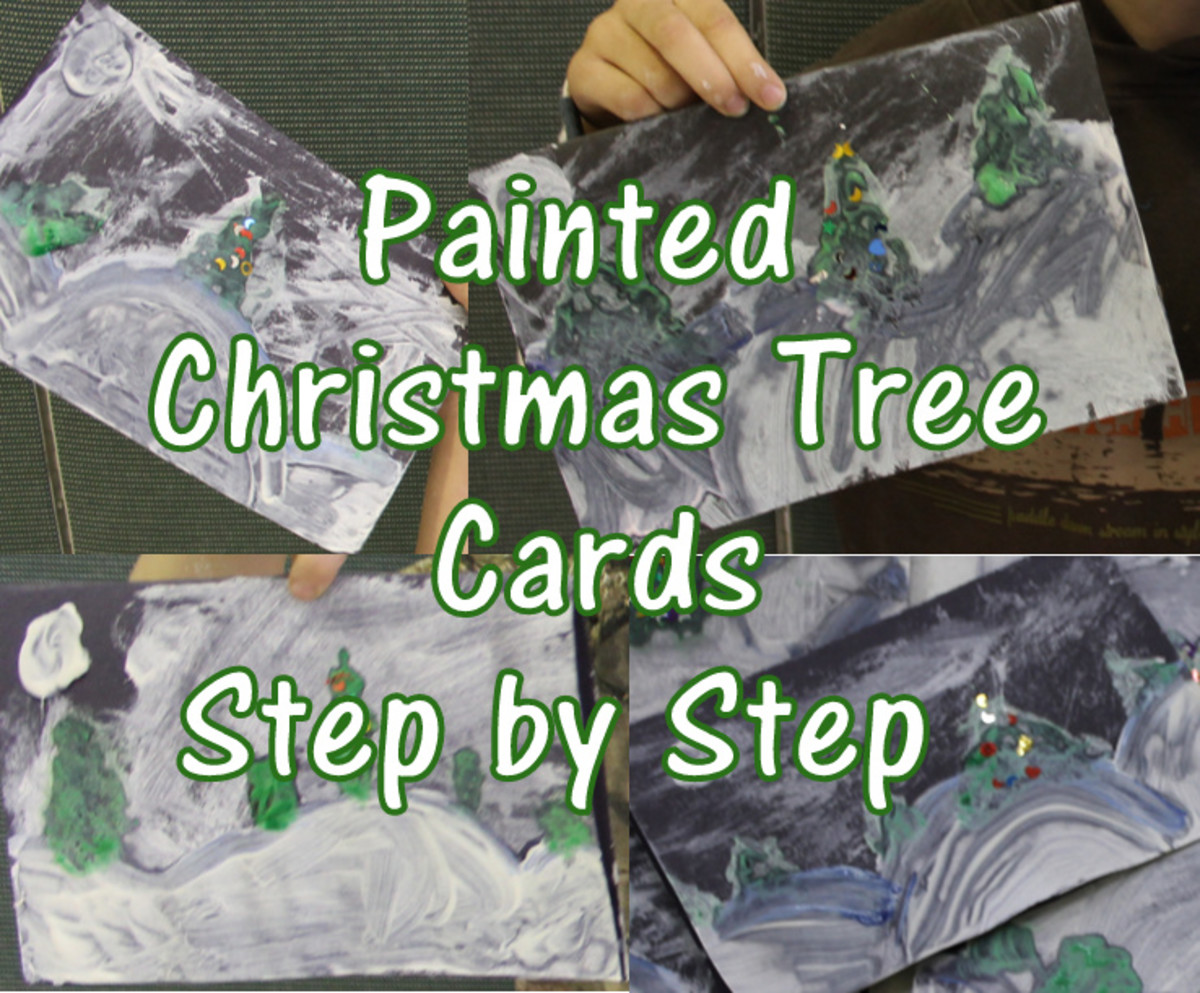 Painted Christmas Tree Card Art Lesson for Early Elementary
