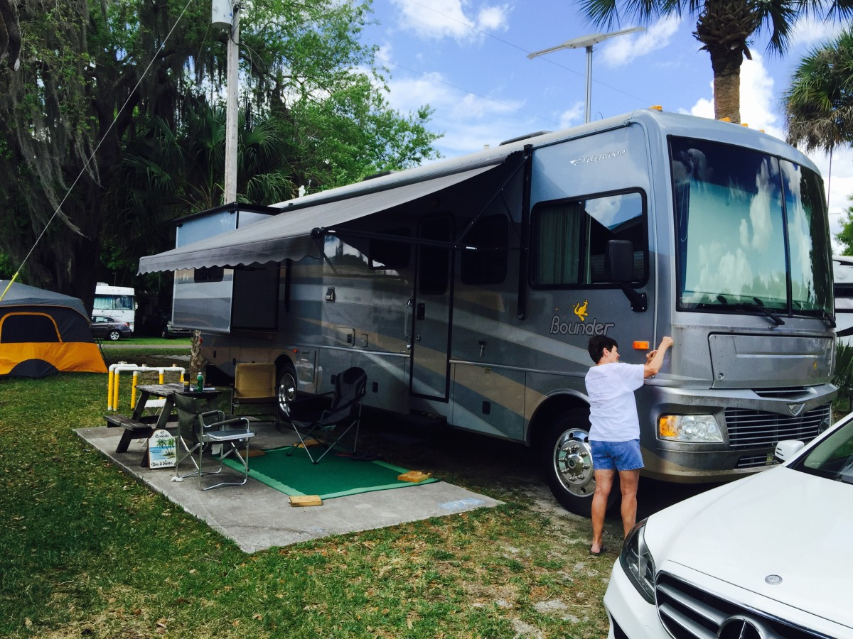 A Bounder motorhome set up in a campsite in South Florida.