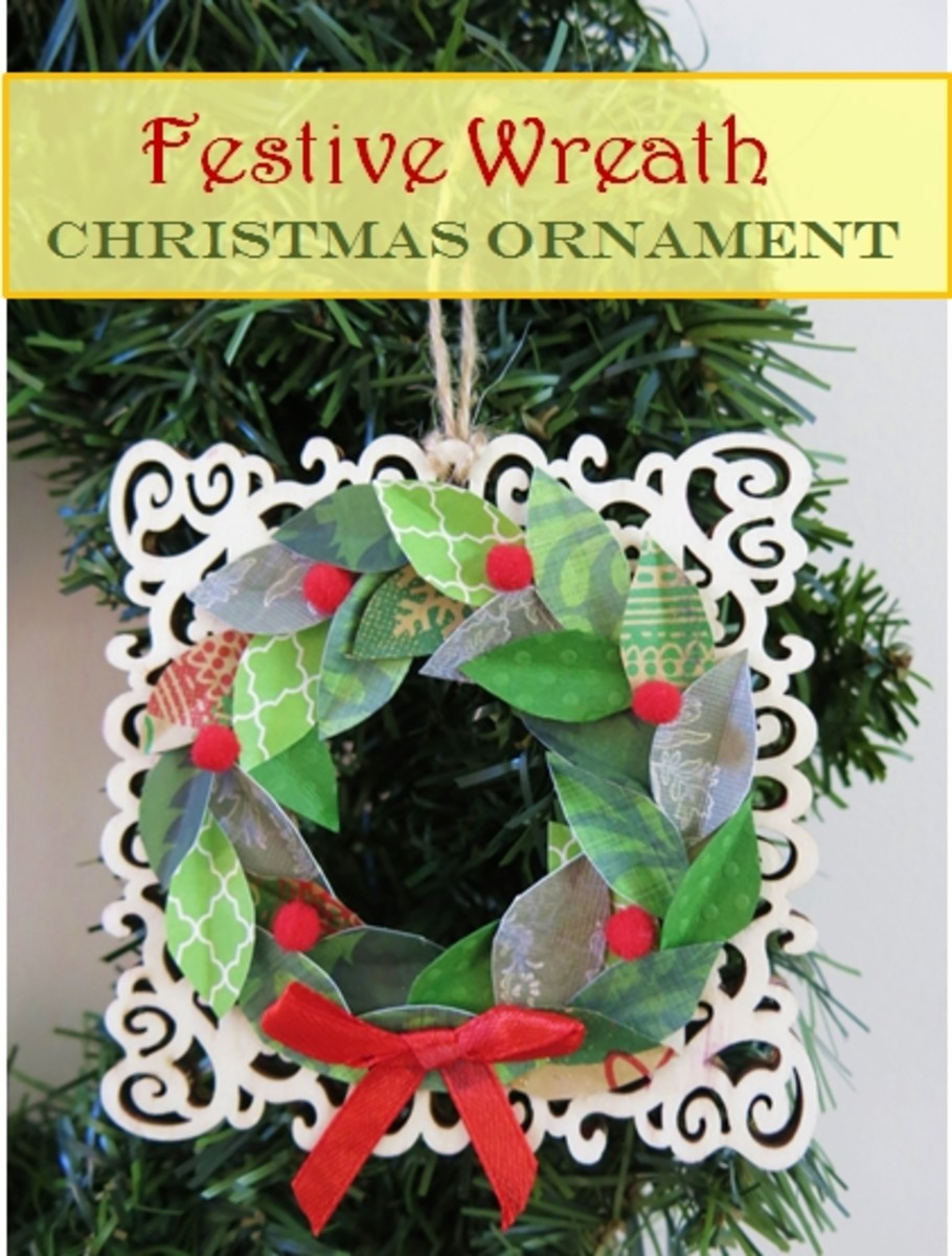 DIY Holiday Craft: How to Make a Farmhouse Wreath Christmas Ornament Using Scrap Paper