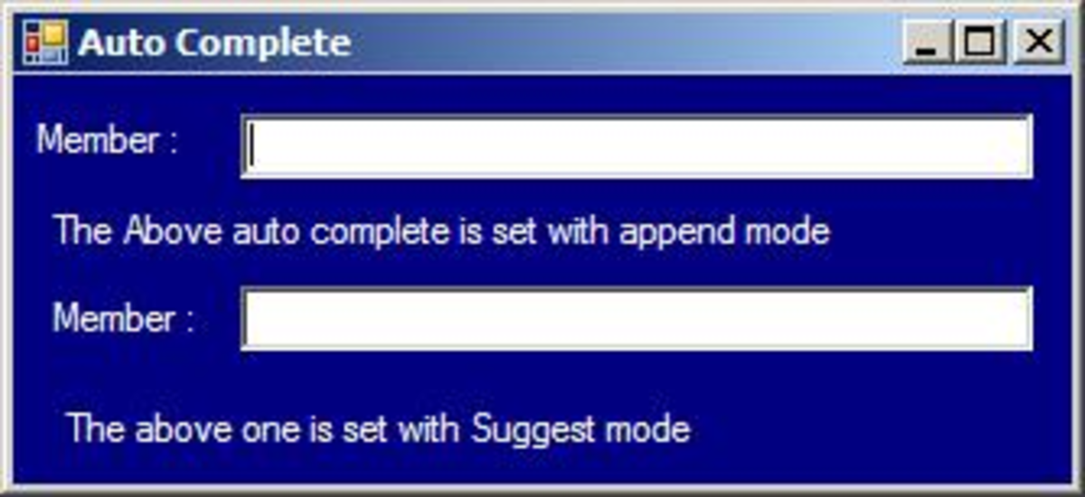 Auto Complete Text Box Form Design