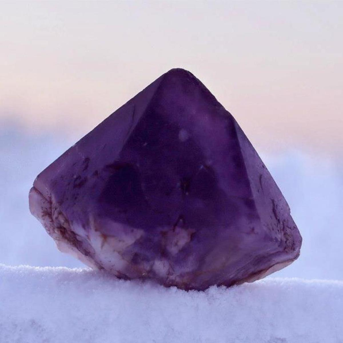 A raw amethyst, discovered at the mine.