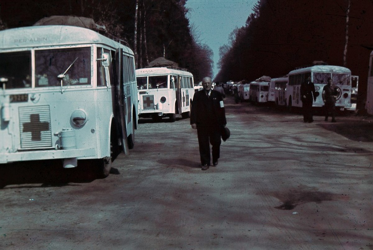 The white buses are staged ready to begin their mission.