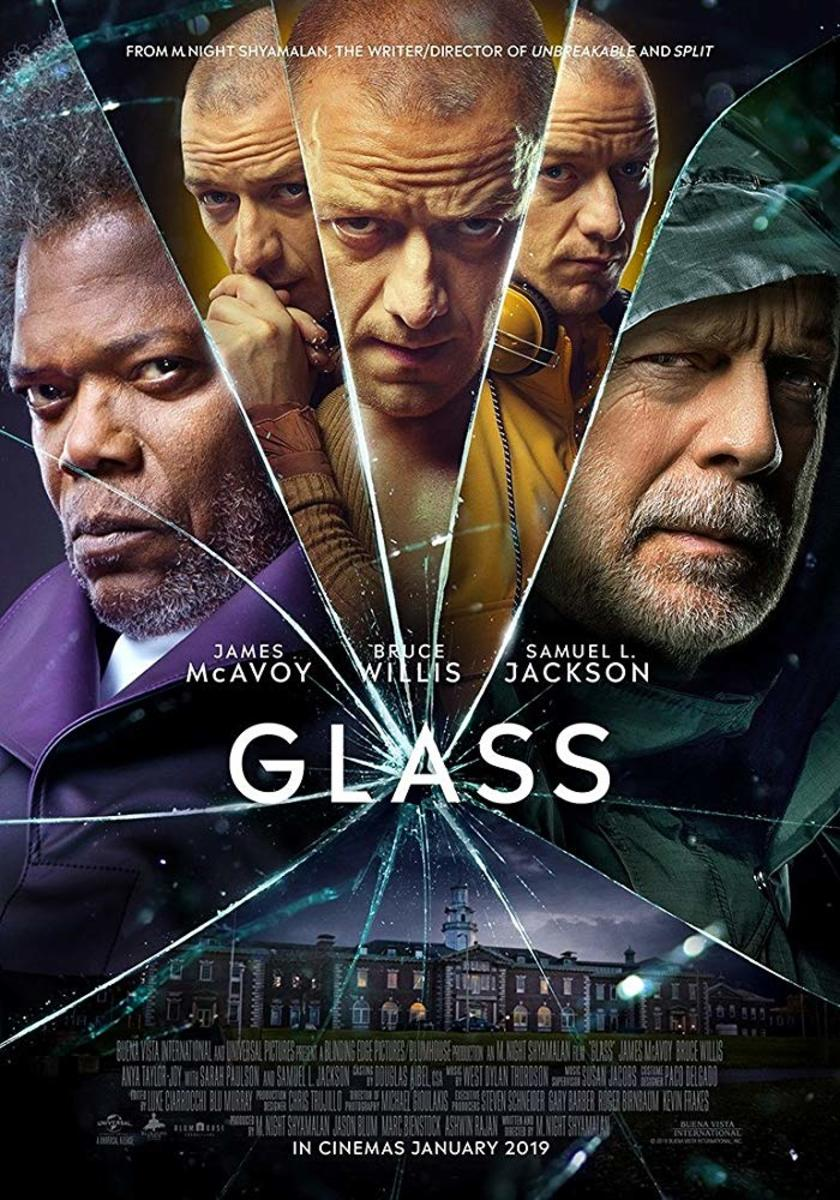 "One of many theatrical one-sheet posters for, ""Glass."""