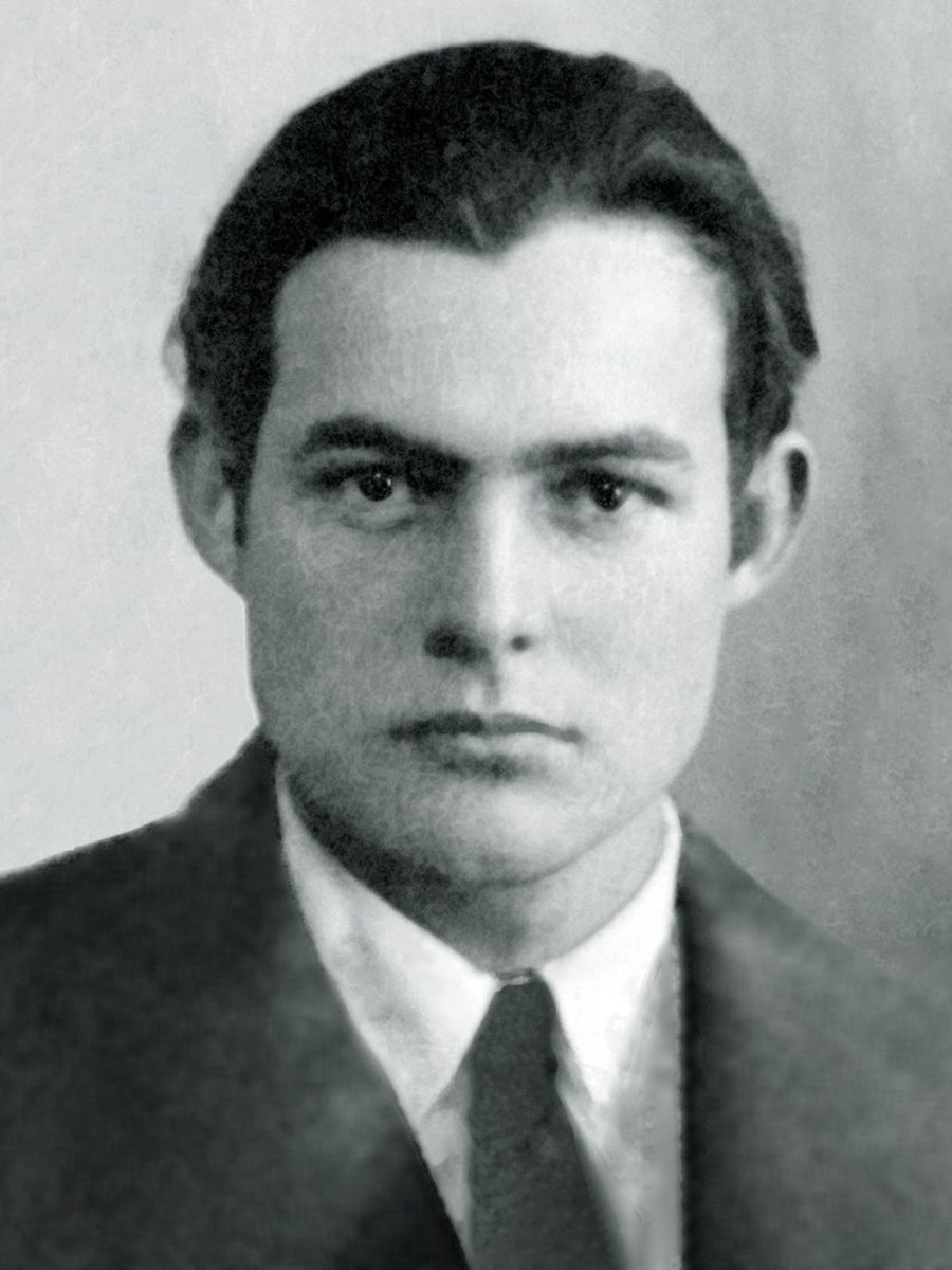 The passport photo of a young Ernest Hemingway, taken when he was married to Hadley and living in Paris.