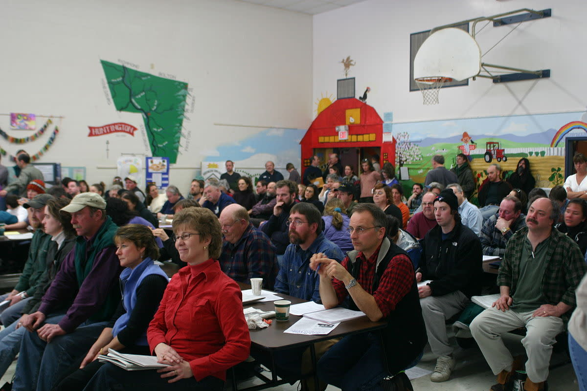 A town meeting in Huntington, Vermont.
