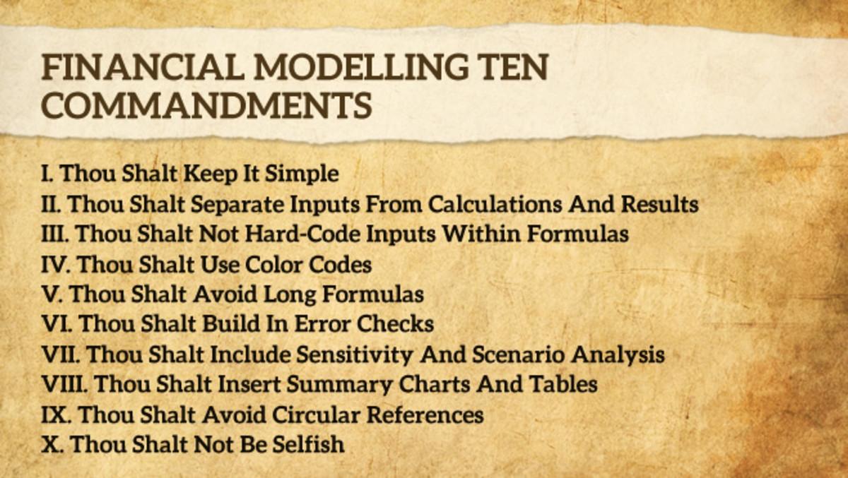 Ten Financial Modeling Commandments