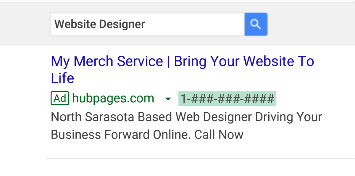 Above is a mock-up ad created with Google Ads. You can create a similar ad for your business or freelance work that displays key words about the service or product that you provide.