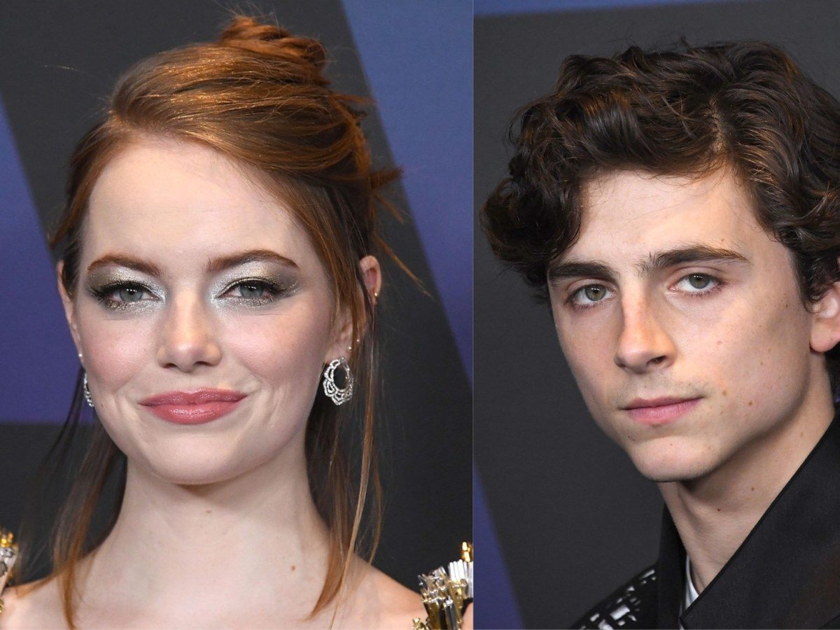 Actors Emma Stone and Timothee Chalamet