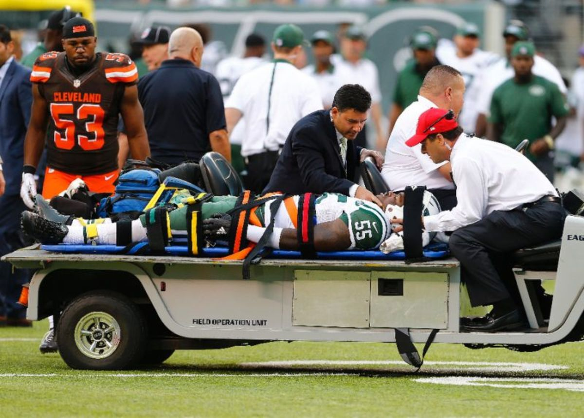 Lorenzo Maudlin is carted off the field in 2015. He recovered and is still in the league.