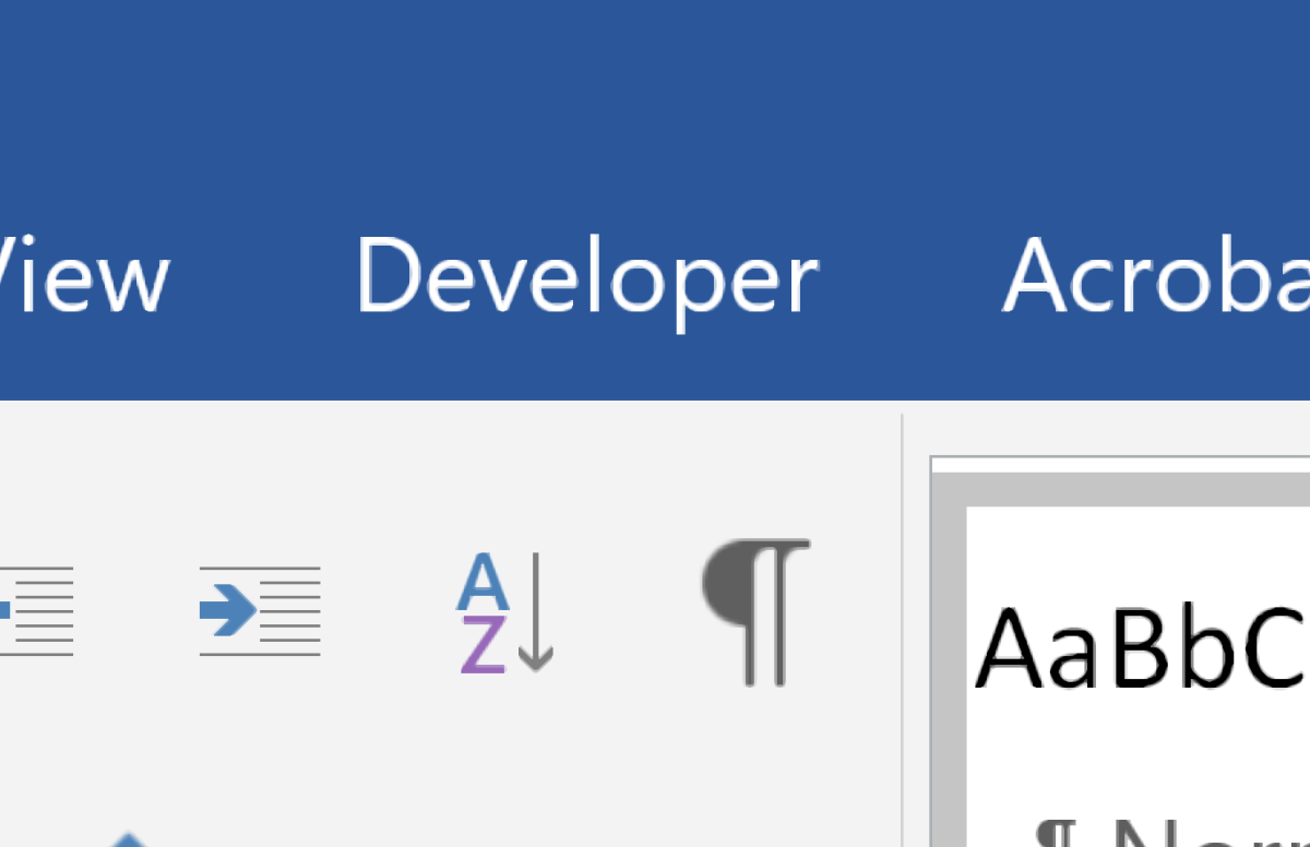 How to Add the Developer Tab in MS Word
