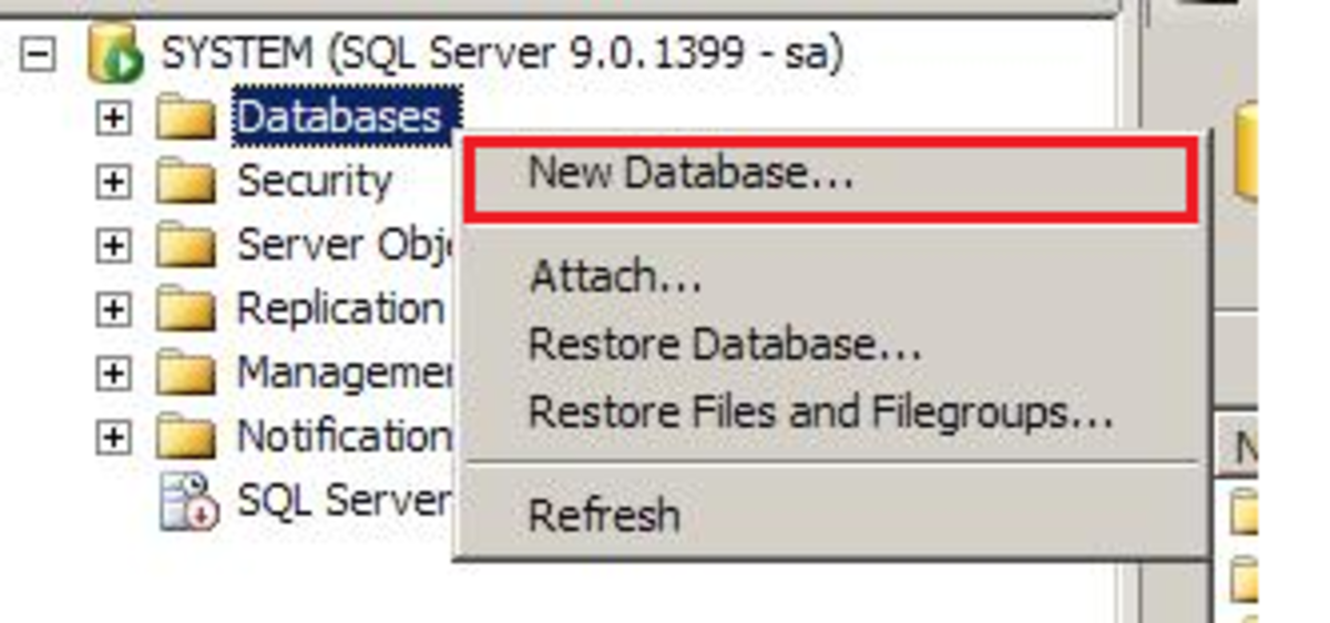 SQL 2005 MGMT Studio New Database