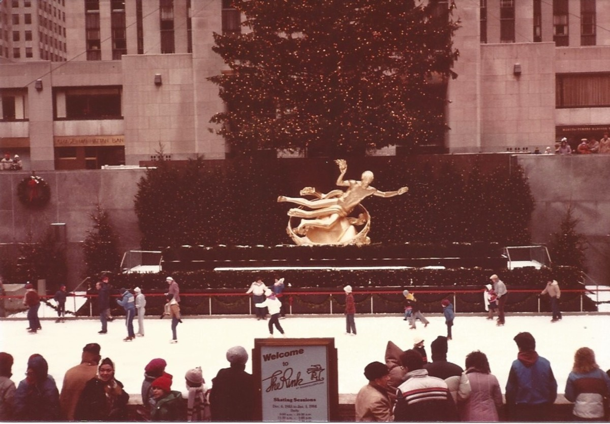 Ice Skating Rink at Rockefeller Center.  Christmas Eve, 1983.