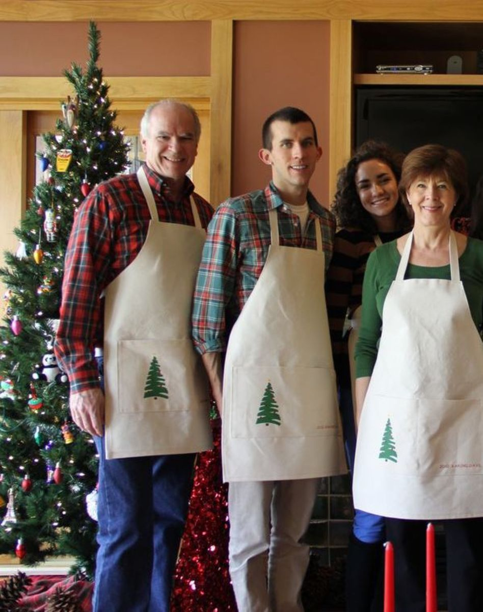 "Our family hosts ""Baking Days"" near Christmas.  About 5 years into it, my husband and I came up with the idea of aprons to wear. Everyone brings them back each year."